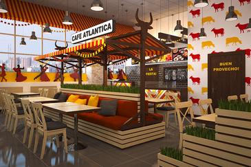 Дизайн интерьера кафе для сети бассейнов