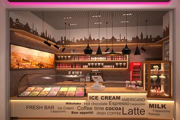 Дизайн-проект кафе-мороженого на фудкорте в ТРК
